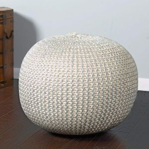 Awe Inspiring L R Resources Poufs08125Bns1814 Fairbanks Bone Silver Knitted Pouf Ottoman 14 X18 Ivory Silver Gmtry Best Dining Table And Chair Ideas Images Gmtryco