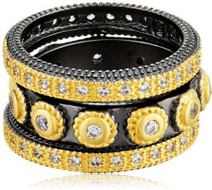 14d2abfc27be Freida Rothman Womens Signature Studded Triple Stackable Ring