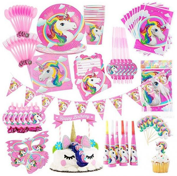 Unicorn Birthday Party Decorations Supplies Kit Favor Boxes Candles Balloons Cupcake Toppers Knifes Forks Spoons Plates Napkins Straws