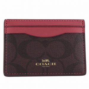 8889e6fe07b2 Coach F63279 IMCAG Signature Logo PVC Card Case Holder in Brown Rouge