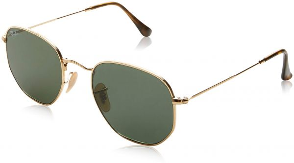 f50a7ee1133a2 Ray-Ban Unisex RB3548N Hexagonal Sunglasses - Gold Frame Grey Flash Lenses