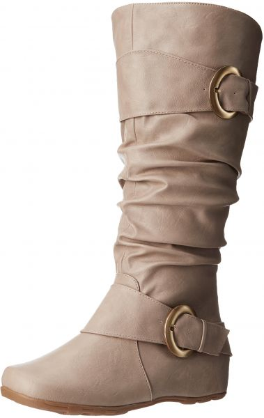 8d97acbf0 Brinley Co Women's Hilton-wc Slouch Boot, Stone Wide Calf, 10 M US | KSA |  Souq