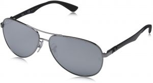 6a8d6c6b7a Ray-Ban CARBON FIBRE - SHINY GUNMETAL Frame BLUE MIRROR SILVER POLAR Lenses  58mm Polarized