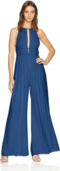 1306f7df7391 Halston Heritage Women s Sleeveless High Neck Flowy Jumpsuit ...