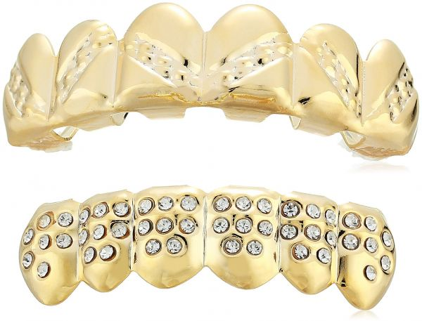 df62b435e8f Men s 18K Gold Plated Brass Hammered Wave Top And Cubic Zircona Bottom  Grillz Set Body Jewelry