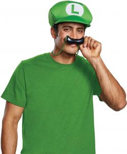 12d74a0c9b0 Disguise Men s New Luigi Hat and Mustache Necklace Costume Kit