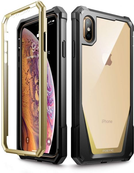 brand new 4a31c 1b99f iPhone Xs Max Case, Poetic Guardian Full-Body Rugged Clear Hybrid Bumper  Case with Built-in-Screen Protector Gold