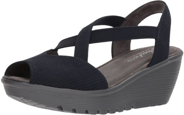 3bcd2006834b Skechers Women s Parallel-Piazza-Peep Toe Gored Slingback Wedge Sandal