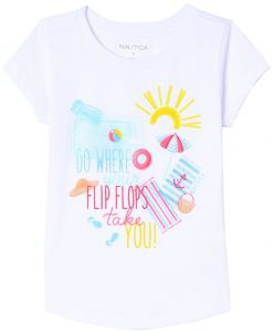 d42d4173407d0a Nautica Little Girls  Fashion Silhouette Graphic Tee Shirt