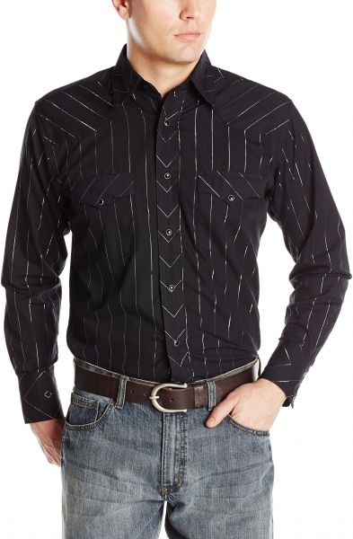 S Black Metallic WRANGLER Mens DOBBY STRIPE Shirt