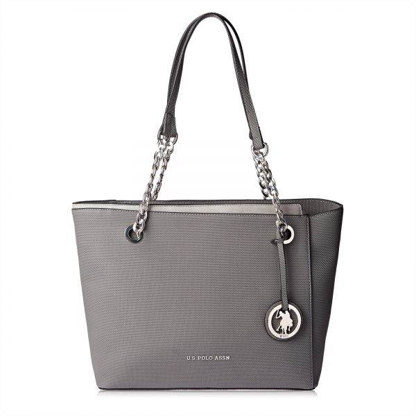 dc69d74481 U.S. Polo Assn. Leather Tote Bag for Women - Dark Grey