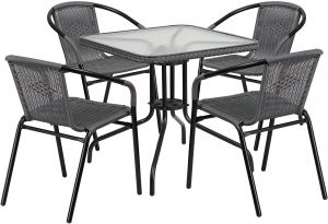 4f9e158466 Flash Furniture 28'' Square Glass Metal Table with Gray Rattan Edging and 4  Gray Rattan Stack Chairs