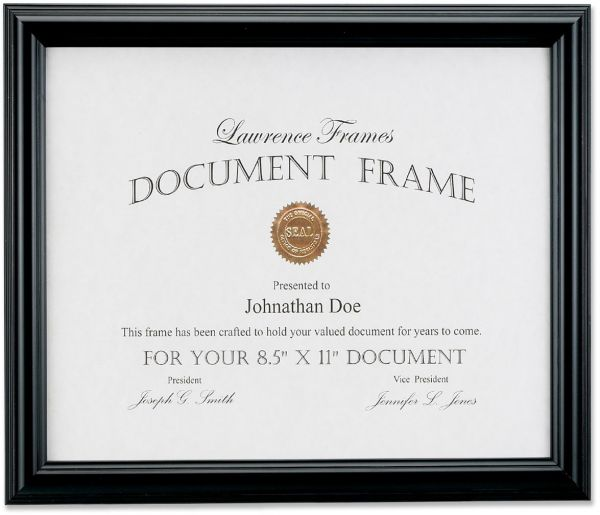 Lawrence Frames 185081 Black Document Picture Frame 85 By 11 Inch