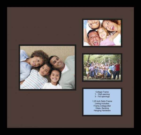 Arttoframes Collage Photo Frame Double Mat With 1 8x10 And 3 5x7