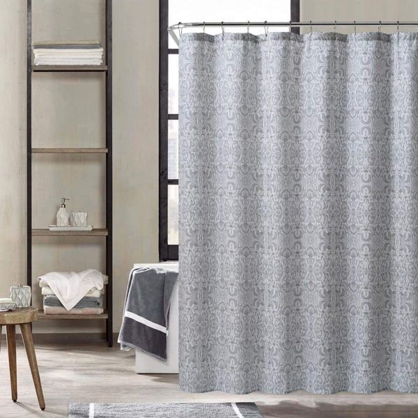 Kensie Krisna Paisley Mildew Resistant Fabric Shower Curtain Liner Waterproof