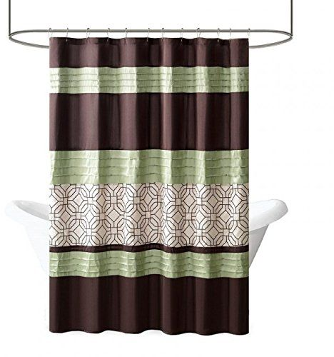 Briggs Geometric Pattern Fabric Shower Curtain Embroidered