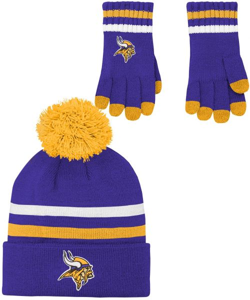NFL by Outerstuff NFL Boys (4-7) 2 Piece Knit Hat and Gloves Set-Regal  Purple c0caa5065