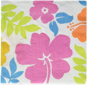 df5ea33b30c78 Hibiscus White Beverage Napkins Hawaiian Tropical Luau Beach Party  Disposable Summer Picnic Tableware