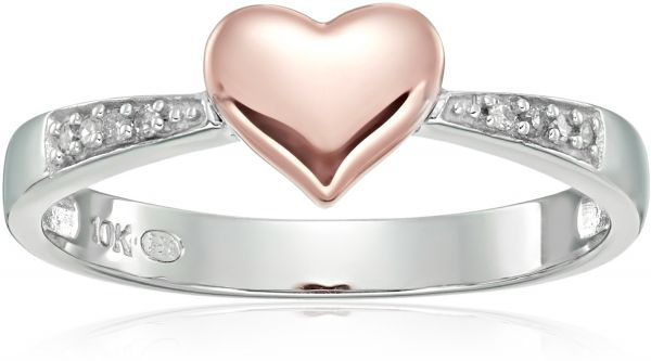 95a99092373 10k White   Rose Gold Diamond Accent Heart Promise Ring