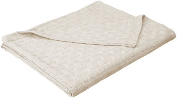 Superior 100% Cotton Thermal Blanket, Soft and Breathable Cotton for All Seasons, Bed Blanket and Oversized Throw Blanket with Luxurious Basket Weave Pattern - King Size, Ivory