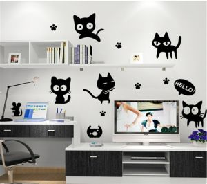 Cute Black Cats Cartoon Wall Sticker Decor Decals Family Diy Decor Art Stickers Home Decor Wall Art For Kids Living Room Office Home Decoration