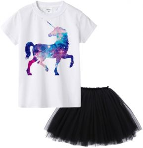 3bd9f34c5d427 Stylish cute children cartoon Unicorn T-shirt with princess skirt sets  casual cotton short sleeve t-shirt with skirt suits children dresses