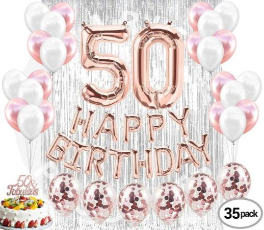 Birthday Party Decoration 50th Decorations Supplies 50 Cake Topper Banner Rose Gold Confetti Balloons Her Silver Curtain Backdrop Props