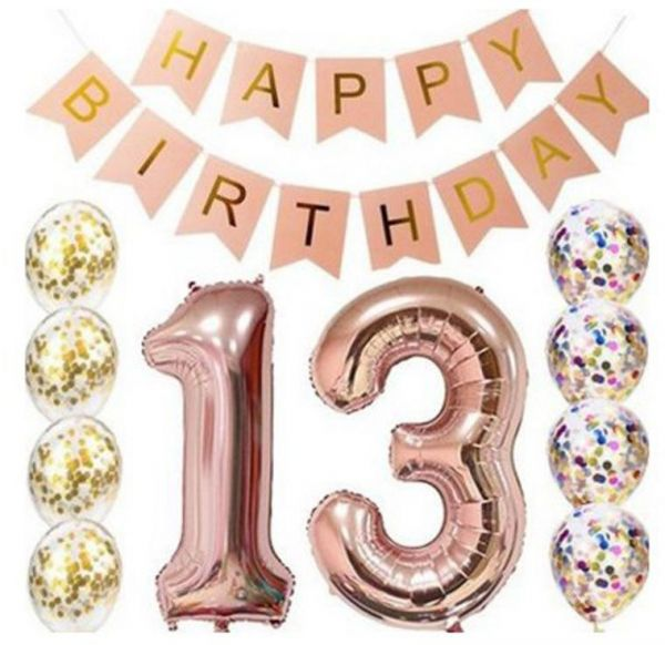 13th Birthday Decorations Party Supplies Balloons Rose Gold BannerTable Confetti Decorations13th Gifts For Girlsuse Them
