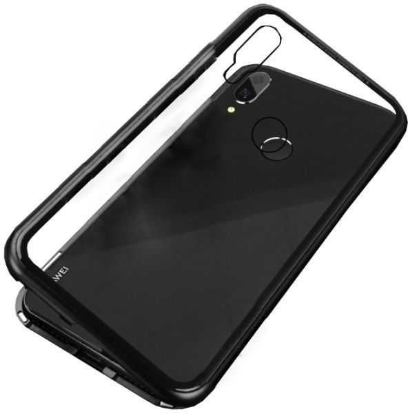 newest d17d1 ee69a Huawei Nova 3i Case 360 degree full cover 2 pieces metal frame Magnetic  tempered glass back case - Black
