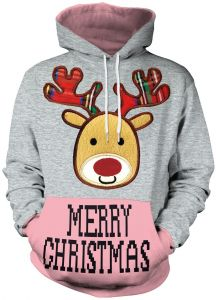 4a05f506b0b Size XXL Unisex Pullover Colorful 3D Hoodie Christmas Sweatshirt for Men  and Women Cool Graphic Prints Sweater with Big Pocket