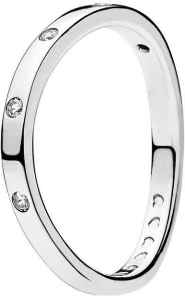 Pandora Women's Silver Cubic Zirconia Curved Band Ring - 7 US - 197113Cz-54