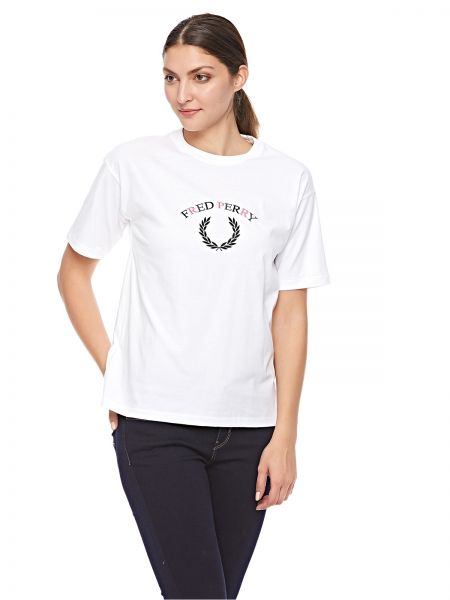 d3cfbae007ec Fred Perry Embroidered T-Shirt for Women - White