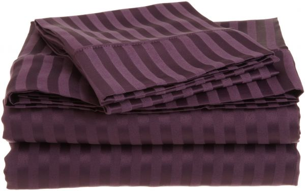 cabcb97736 Superior 1500 Series 100% Brushed Microfiber 4-piece Full Bed Sheet Set  Stripe