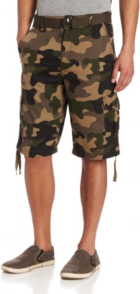2b1a1cee31 Southpole Men's Belted Ripstop Basic Cargo Short with Washing and 13.5 Inch  Length All Season, Woodland,36