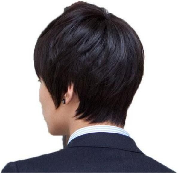 0563c8cd1cc8 Man Synthetic Hair Straight Short Wigs Hairstyle Black-h113