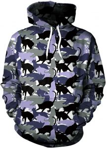 84ab7c77b02 Women Animal cat Print Pullover Autumn And winter Camouflage Hoodie Casual Long  Sleeve Drawstring Hooded Sweatshirt Pocket(SIZE XL)