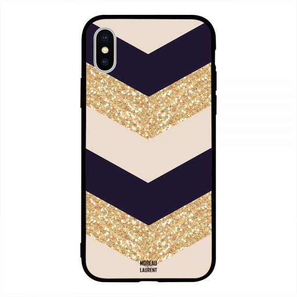 Apple Iphone X Case Cover Golden Glitter & Plain Pattern