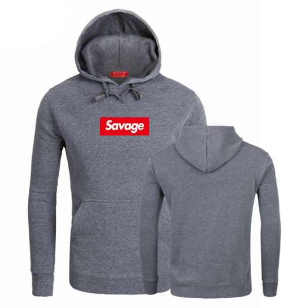 Savage hooded sweater men and women fleece printed loose long ... 7722ed4dd