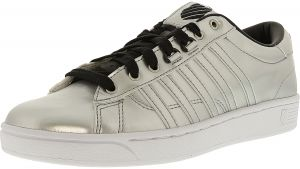 K-Swiss Women s Hoke Metallic Cmf S Silver Black White ankle-High Fashion  Sneaker - 6M 5fcd77413
