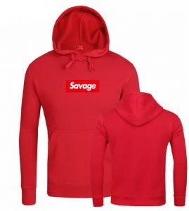 6951c76b07e Savage hooded sweater men and women fleece printed loose long-sleeved  pullover casual fashion coat -red L