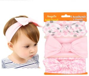 841e192c45b Pack of 3 Boutique Stretch Bow Ear Turban Headbands Set for Baby Girl  Toddlers Kids