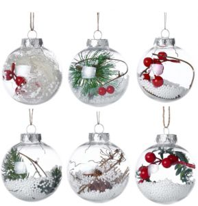 6 Pcs Christmas Small Ball Pendant Tree Decoration Drop Ornaments Xmas Hanging Decorations For Home