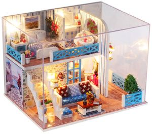 1f98d8f3f709 Miniature Super Mini Size Doll House Model Building Kits Wooden Furniture  Toys DIY Dollhouse Girl Bedroom Home of Helen