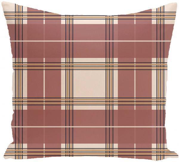 E By Design Big Bad Plaid Geometric Print Outdoor Pillow 20 Inch