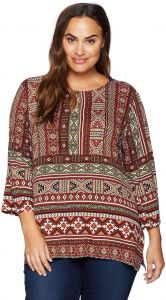 d0847a846d7 Ruby Rd. Women s Plus Size Printed 3 4 Sleeve Knit Tunic Top