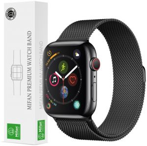 bbdd513af2e Mifan Official Milanese Loop Band for Apple Watch 44mm 42mm Series 1 2 3 4 Replacement  Strap Black Mesh Stainless Steel Anti Sweat Cooling Wristband ...