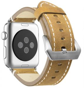 27bb673fa Leather Bands Compatible Apple Watch Band Replacement Wristband Sport Strap  Iwatch Nike-, Series 4 3 2 1, Edition Stainless Steel Buckle 44MM BROWN