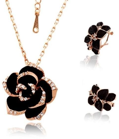 Fashion Rose Flower Enamel Jewelry Set Gold Plated Black Painting Bridal Jewelry Sets for women