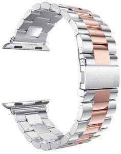 APPLE iWatch Band Women Men Stainless Steel Metal Band Strap for Apple Watch Series 4 Series 3, Series 2, Series 1, 42mm Silver/Rose Gold