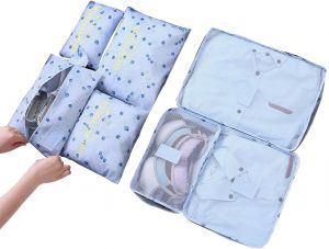 Ndream 6 Set Packing Cubes Kit, Travel Luggage Clothes Organizer Storage Bags -3 Cubes + 3 Pouches(Blue Cherry)